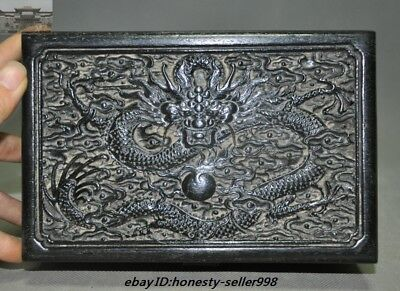 "8""Old Chinese Palace Rosewood Wood Carved Dragon Totem Jewelry Boxstorage boxes 7"
