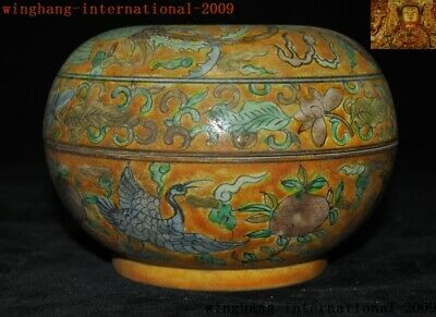 "6""Rare China yellow glaze Wucai porcelain peach Crane bird Storage Pot Box Boxes 6"