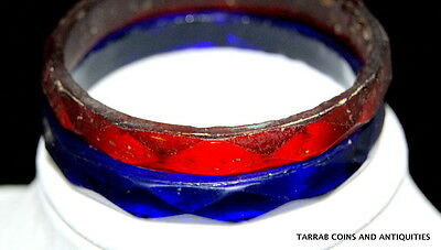 Ancient Roman Faceted Blue And Red Glass Bracelets 1St-3Rd Cent A.d. Set Of Two! 2