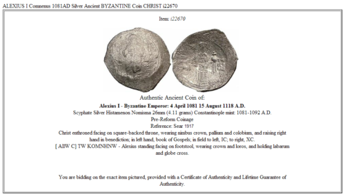 ALEXIUS I Comnenus  1081AD Silver Ancient BYZANTINE Coin CHRIST i22670 3