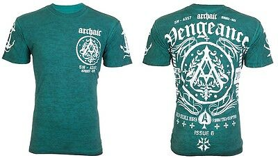 Archaic Affliction Mens S/S T-Shirt PEOPLE Biker TEAL American Fighter M-3XL $40 3