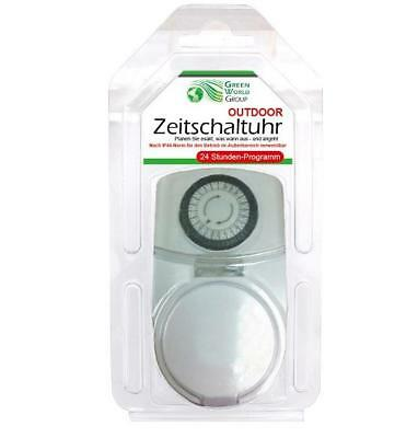 2x Zeitschaltuhr Außen analog 24h Zeitschaltung | Steckdosenschaltuhr mechanisch 2
