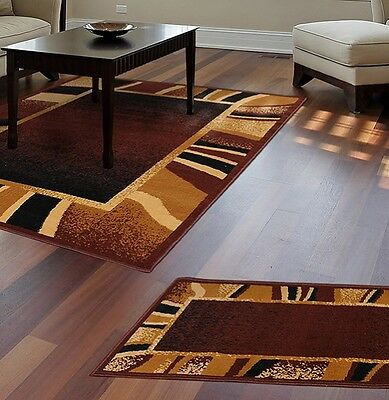 Throw Rugs 3 Piece Set Living Room Area Floor Mat Runner Ter Brown Tan