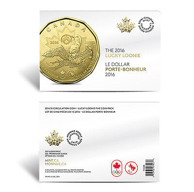 2016 Canada $1 Lucky Loonie 5-pack Olympic Dollar Circulation original Mint pack 3