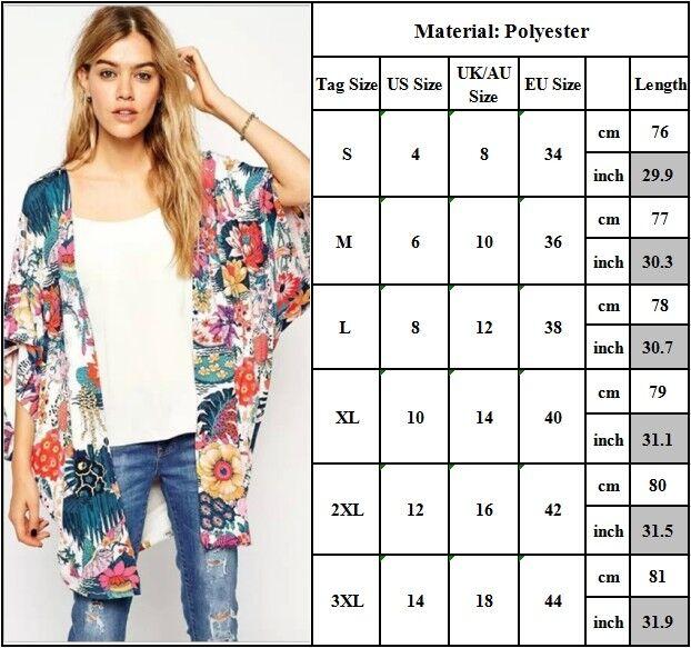 Womens Kimono Blouse Coat Boho Floral Cardigan Jacket Tops Beach Bikini Cover Up