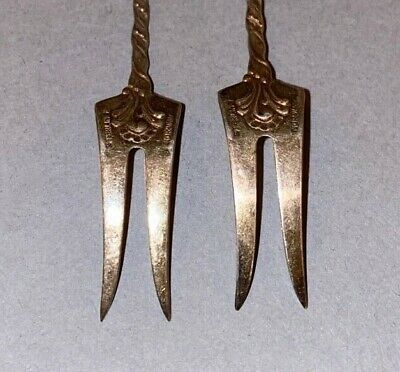 2 Vintage Ornate Sterling Silver Small Pickle Hors d'oeuvre Forks marked NORWAY 4