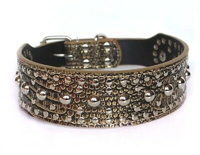 Studded Rivet Spiked Metal Dog PU Faux Leather Collar Pitbull Mastiff BLACK RED 11