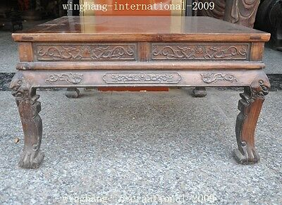 Old China Huanghuali Wood Hand-Carved Dragon phoenix Statue Ancient Tables Desk 4