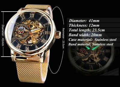 Men Skeleton Mechanical Wrist Watch Stainless Steel Luxury Steampunk Wristwatch 7