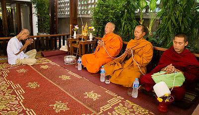Paket 5 Armband Sacré Sai Sin Gelb Baumwolle Stoff Ganesh Glück Buddha Thailand