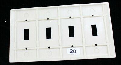 Art Deco Bakelite Ribbed Blank 4 Toggle Wall Plate 4 Gang Light Switch  Large 2