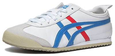 Onitsuka Tiger Mexico 66 Womens Soft Leather Trainers In White Blue Size UK 3 - 6