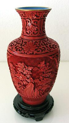 big 20th Pair of Vases - Mirror inverted Original Chinese Cinnabar Lacquer RARE 4