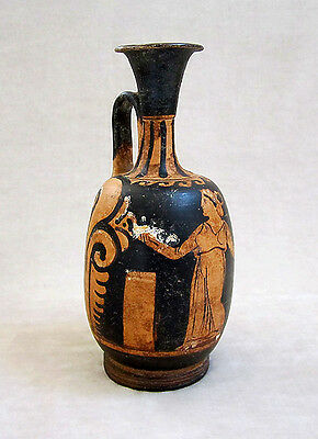 Magnificent ANCIENT APULIAN RED-FIGURED SQUAT LEKYTHOS, circa 350 B.C. 6
