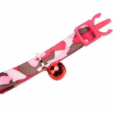 Ancol Camouflage Cat Collar with Bell ,Safety Buckle in Black, Pink, Blue, Green 3