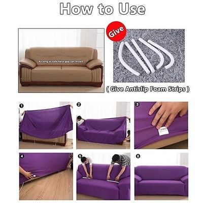 1/2/3/4 Sofa Covers Couch Slipcover Stretch Elastic Fabric Settee Protector Fit 8