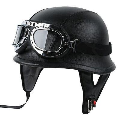 DOT German Black Leather Motorcycle Half Face Helmet Biker Pilot &Goggles M L XL Automotive