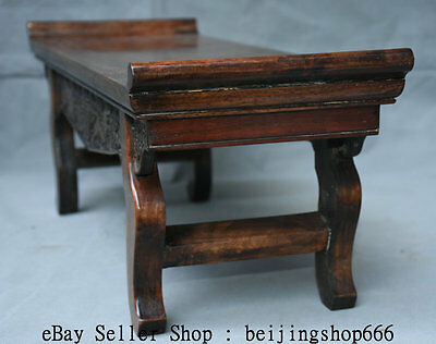 "22"" Old Chinese Huanghuali Wood Dynasty Carving Bat Lucky Table Desk Furniture 3"