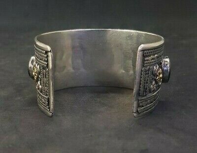 Silver plated And Brass Afghani Bangle With Black Agate Stone #761 4