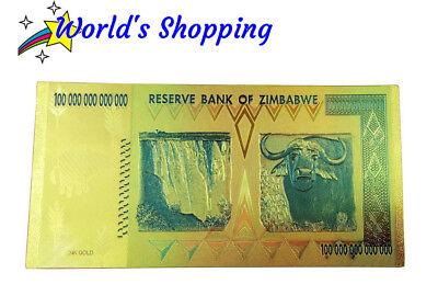 $100 Trillion Dollar Zimbabwe Note In 24 Carat Gold Leaf