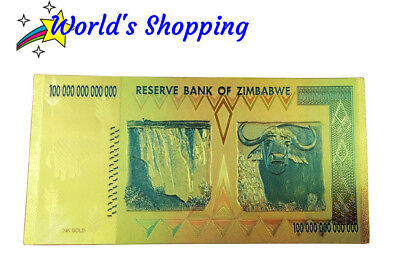 $100 Trillion Zimbabwe Dollar Note In 24 Carat Gold Leaf