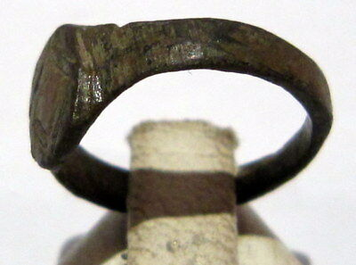 Beautiful Post-Medieval Bronze Kids Ring With Engraving On The Top # 77 4