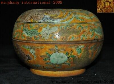 "6""Rare China yellow glaze Wucai porcelain peach Crane bird Storage Pot Box Boxes 3"