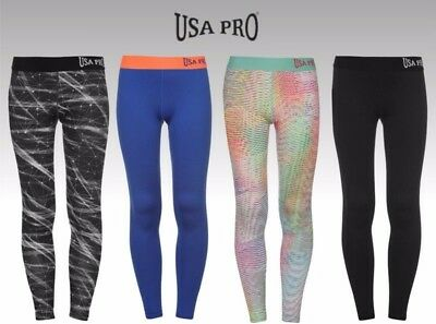 Junior Girls USA Pro Stretch Close Fit Gym Training Tights Sizes Age 5-13 12