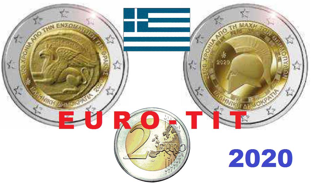2 € Grece     2 X Pieces Commemo    Thermopyles/Thrace      2020   Nouveau  2020 2