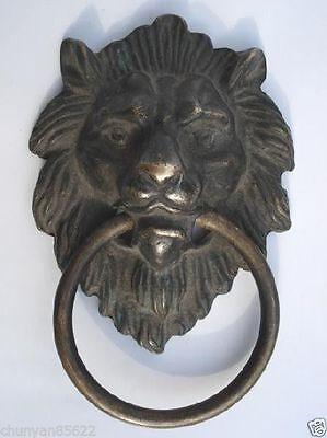 Chinese Old Bronze Fierce Majestic Lion's Head Lion Door Knocker 2