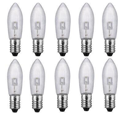 10Stk LED 0,2W E10 10-55V Topkerzen Riffelkerzen Spitzkerzen Ersatz Lichterkette 6