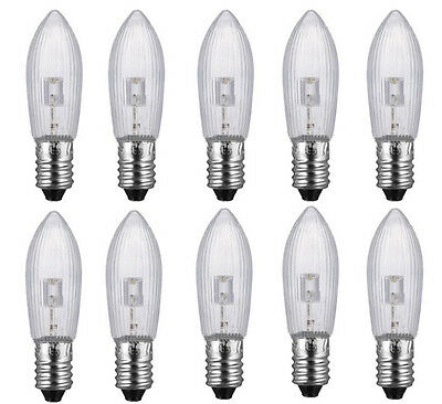 30X LED 0,2W E10 10-55V Topkerzen Riffelkerzen Spitzkerzen Ersatz Lichterkette Z 8