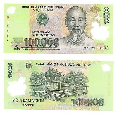 100000 Viet Nam Dong + New Free 5000 Iraqi Dinar Note With Purchase* Lot Of 1 Ea 7