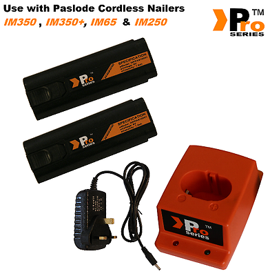 2 x Battery+ Mains Charger+Charger base -  Fully compatible with Paslode IM65 4