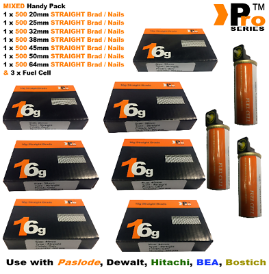 20mm+25mm+32mm+38mm+45mm+50mm+64mm,3500 16g STRAIGHT nails+3xGas for Paslode, a7 2