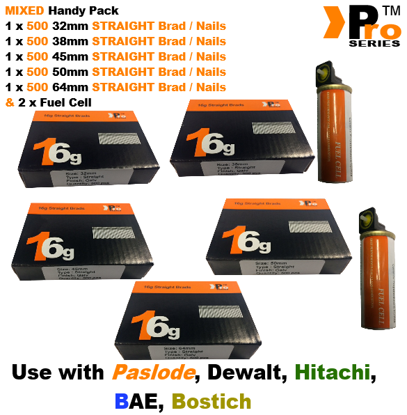 32mm+38mm+45mm+50mm+64mm 16g STRAIGHT 2500 nails+ 2x Fuel Cell for HITACHI , A9 2