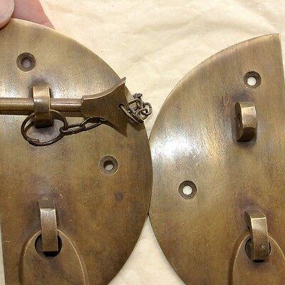 "2  Door box Latch catch brass furniture antique bolt chain asian style 3.1/2"" B 2"