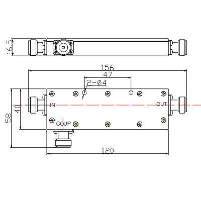 RF Coaxial Directional Coupler, 400-470MHz 40dB, 500 Watt 432MHz, 70cms 3