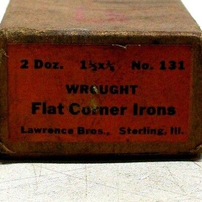 "Lot Of 6 Nos Vintage 1 1/2"" X 1 1/2"" X 3/8"" Wrought Flat Corner Irons Dm 8"