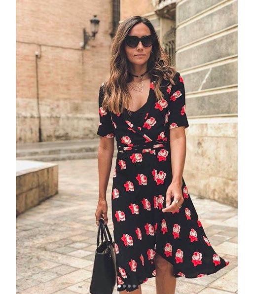 9834ac8bd99d Bn Ganni Harley Crepe Wrap Dress Midi Skirt Floral Black Red Xs 6 Dalton  Zara Hm 9 9 of 9 See More