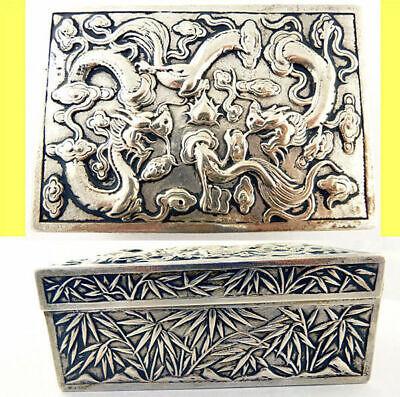 Antique Chinese Export Silver Box Humidor Wang Hing Dragons Bamboo (5572) 2