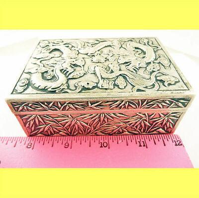 Antique Chinese Export Silver Box Humidor Wang Hing Dragons Bamboo (5572) 5