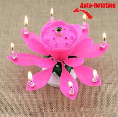 Rotation Romantic Musical Flower Floral Cake Candles Happy Birthday Party Lights 4