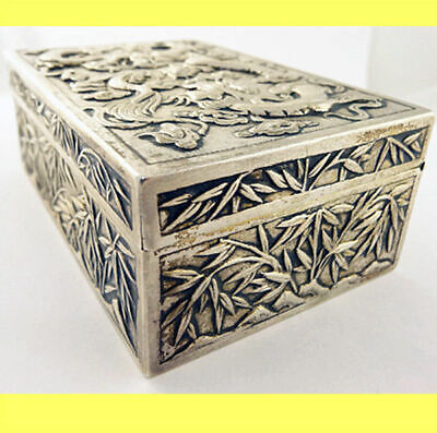 Antique Chinese Export Silver Box Humidor Wang Hing Dragons Bamboo (5572) 3