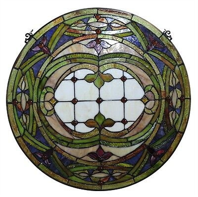 """~LAST ONE AT THIS PRICE~  Tiffany Style Stained Glass 24"""" Round Window Panel 2"""