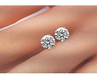 2 Ct Diamond Stud Earrings Round Diamond Solitaire Earrings 14k Yellow Gold 3