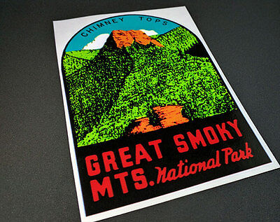 Great Smoky Mountains National Park Vintage Style Travel Decal, Vinyl Sticker 2