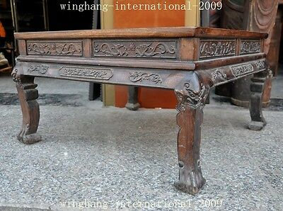 Old China Huanghuali Wood Hand-Carved Dragon phoenix Statue Ancient Tables Desk 7