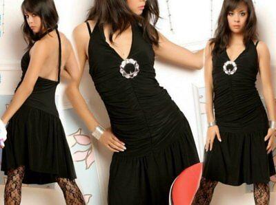 SeXy Miss Damen Raff Kleid Salca Dance Dress Silber Schnalle schwarz 34/36/38 2