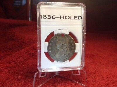 1836 Capped Bust Half Dollar - Lettered Edge - Holed - Vf/Ef - In Bcw Slab 2